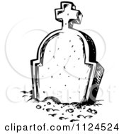 Clipart Of A Sketched Black And White Cemetery Tombstone Royalty Free Vector Illustration