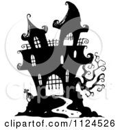 Clipart Of A Sketched Black And White Haunted Halloween Mansion Royalty Free Vector Illustration by visekart