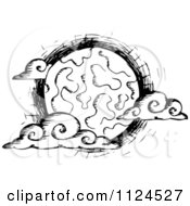 Clipart Of A Sketched Black And White Creepy Full Moon With Clouds Royalty Free Vector Illustration
