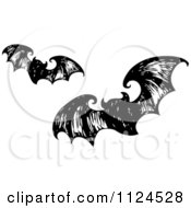 Sketched Black And White Flying Halloween Bats 2