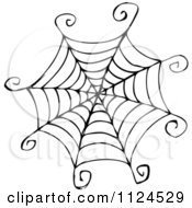Clipart Of A Sketched Black And White Spider Web Royalty Free Vector Illustration by visekart