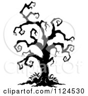 Clipart Of A Sketched Black And White Creepy Bare Halloween Tree Royalty Free Vector Illustration