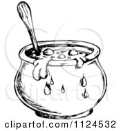 Sketched Black And White Boiling Witch Cauldron