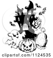 Clipart Of A Sketched Black And White Haunted House With A Cemetery Bats Halloween Pumpkin And Ghost Royalty Free Vector Illustration by visekart