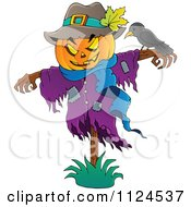 Cartoon Of A Jackolantern Halloween Scarecrow And Bird Royalty Free Vector Clipart by visekart