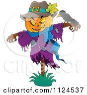 Cartoon Of A Jackolantern Halloween Scarecrow And Bird Royalty Free Vector Clipart by visekart