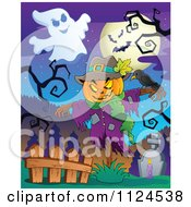 Cartoon Of A Jackolantern Halloween Scarecrow And Ghost In A Cemetery Royalty Free Vector Clipart by visekart