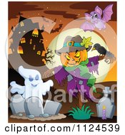 Cartoon Of A Ghost And Jackolantern Halloween Scarecrow In A Cemetery Near A Haunted House Royalty Free Vector Clipart by visekart