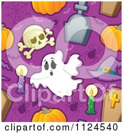Cartoon Of A Seamless Halloween Background Of Skulls Candles Spiders Bats Tombstones Coffins And Pumpkins On Purple Royalty Free Vector Clipart by visekart