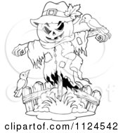 Cartoon Of An Outlined Halloween Scarecrow With Birds Royalty Free Vector Clipart by visekart