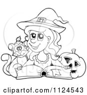 Cartoon Of An Outlined Cute Halloween Witch Cat And Pumpkin By A Spell Book Royalty Free Vector Clipart