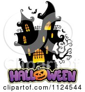 Cartoon Of A Lit Haunted Mansion With Halloween Text Royalty Free Vector Clipart