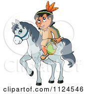 Cartoon Of A Native American Indian With A Hatchet On A Horse Royalty Free Vector Clipart by visekart