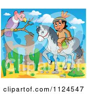 Cartoon Of A Horseback Native American Indian Near A Vulture In A Desert Royalty Free Vector Clipart by visekart