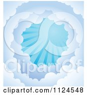 Cartoon Of A Tunnel Of Clouds And Sun Rays In A Blue Sky Royalty Free Vector Clipart by visekart