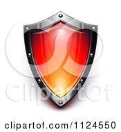Clipart Of A 3d Steel And Red Security Shield Royalty Free Vector Illustration