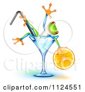 Clipart Of A Happy Frog Holding An Orange Wedge And Soaking In A Blue Lagoon Cocktail Glass Royalty Free Vector Illustration