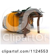 Clipart Of A 3d Pumpkin Cottage House Royalty Free CGI Illustration