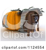 Clipart Of A 3d Robot In A Pumpkin Cottage House Royalty Free CGI Illustration