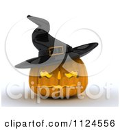 Clipart Of A 3d Illuminated Halloween Jackolantern Pumpkin Wearing A Witch Hat Royalty Free CGI Illustration