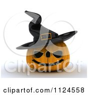 Clipart Of A 3d Halloween Jackolantern Pumpkin Wearing A Witch Hat Royalty Free CGI Illustration
