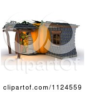 Clipart Of A 3d Tortoise In A Pumpkin Cottage House Royalty Free CGI Illustration
