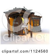 Clipart Of A 3d White Character In A Pumpkin Cottage House Royalty Free CGI Illustration