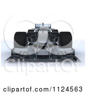 Clipart Of A 3d Silver Race Car From The Front Royalty Free CGI Illustration