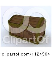Clipart Of A 3d Wooden Treasure Chest Trunk Royalty Free CGI Illustration by KJ Pargeter