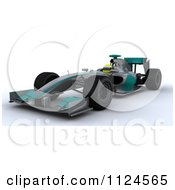 Clipart Of A 3d Race Car Driver In A Turquoise And Silver Car Royalty Free CGI Illustration
