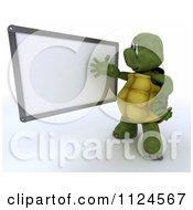 3d Tortoise Presenting A Blank White Board