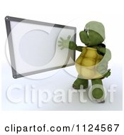 Clipart Of A 3d Tortoise Presenting A Blank White Board Royalty Free CGI Illustration by KJ Pargeter