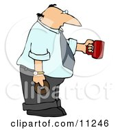 Businessman Holding A Cup Of Coffee And A Donut Clipart Picture