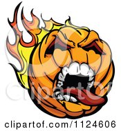 Cartoon Of A Screaming Flying Fiery Halloween Pumpkin Jackolantern Royalty Free Vector Clipart
