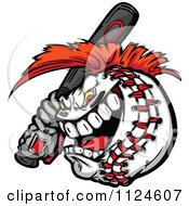 Cartoon Of A Competitive Batting Baseball Mascot With A Mohawk Royalty Free Vector Clipart