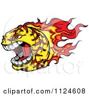 Cartoon Of A Flaming Aggressive Screaming Softball Mascot Royalty Free Vector Clipart