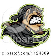 Clipart Of An Aggressive Bandit Mascot In Profile Royalty Free Vector Illustration
