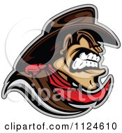 Clipart Of An Aggressive Cowboy Mascot In Profile Royalty Free Vector Illustration by Chromaco