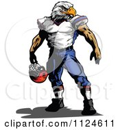 Clipart Of A Muscular Bald Eagle Headed Football Player Royalty Free Vector Illustration by Chromaco #COLLC1124611-0173
