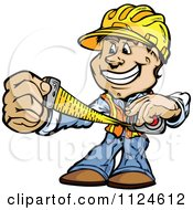 Cartoon Of A Happy Handyman Using A Tape Measure Royalty Free Vector Clipart