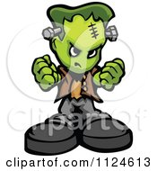 Cartoon Of A Tough Frankenstein Holding Up Fists Royalty Free Vector Clipart