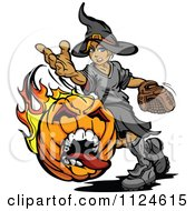 Cartoon Of A Halloween Witch Pitching A Flaming Screaming Pumpkin Baseball Royalty Free Vector Clipart