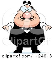 Cartoon Of A Happy Chubby Male Waiter Royalty Free Vector Clipart by Cory Thoman