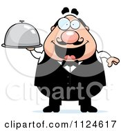 Cartoon Of A Happy Chubby Male Waiter Holding A Cloche Platter Royalty Free Vector Clipart by Cory Thoman