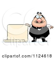 Cartoon Of A Happy Chubby Male Waiter Holding A Sign Royalty Free Vector Clipart