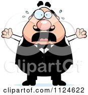 Cartoon Of A Panicking Chubby Male Waiter Royalty Free Vector Clipart