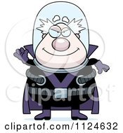 Cartoon Of A Waving Chubby Male Villain Royalty Free Vector Clipart by Cory Thoman