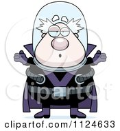 Cartoon Of A Careless Shrugging Chubby Male Villain Royalty Free Vector Clipart by Cory Thoman