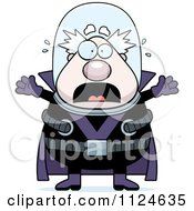 Cartoon Of A Panicking Chubby Male Villain Royalty Free Vector Clipart