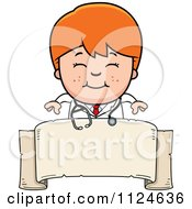 Cartoon Of A Happy Red Haired Doctor Or Veterinarian Boy Over A Banner Sign Royalty Free Vector Clipart